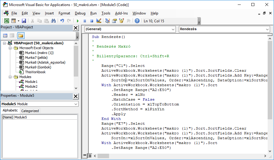 A makrófelvevő VBA kódokká alakítja a lépéseket.