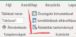 Excel táblázat formátum megszüntetése, táblázat átalakítása tartománnyá