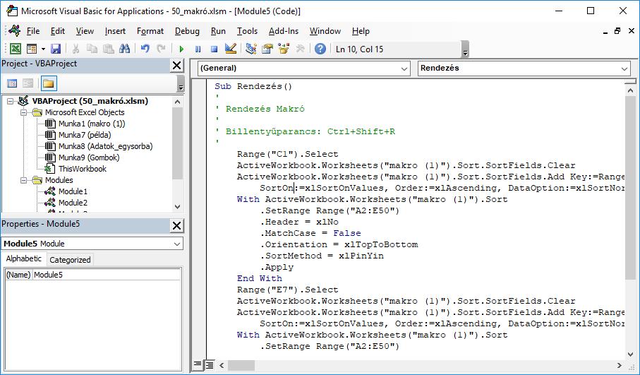 A makrófelvevő átírja az Excel lépéseket Visual Basic nyelvre.