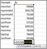 A Szum függvény is az Excel alapok része.