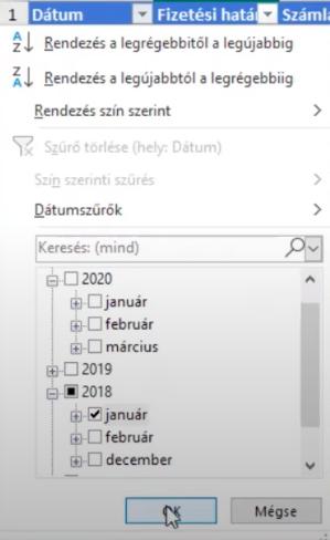 Ha igazi, és nem szöveges dátum szerepel az Excelben, akkor a szűrő becsoportosítja évre, hónapra.