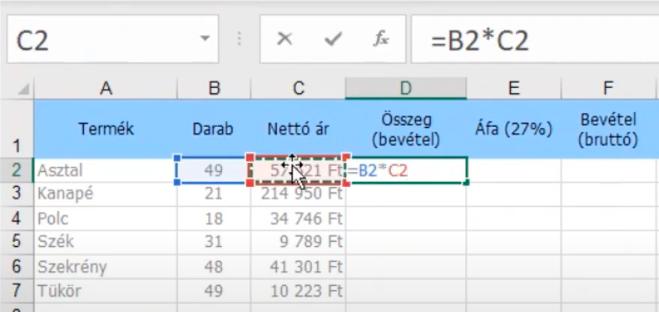 Hivatkozáshoz egyszerűen kattints az egérrel arra a cellára, amivel számolni szeretnél az Excel képletben.
