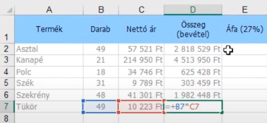 Excel képletek ellenőrzése: Az F2 funkciógomb megmutatja, hogy milyen képlet került az utolsó sorba.