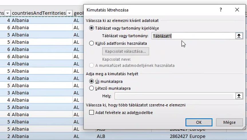 Excel Kimutatás készítés - Kimutatás beszúrása