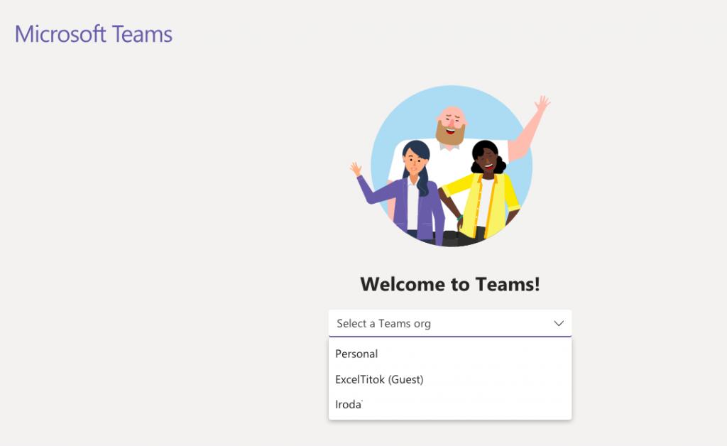 Teams használata - választás a szervezetek között belépéskor